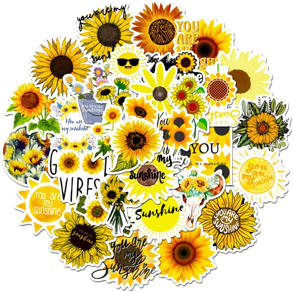 You are My Sunshine Stickers Pack 50pcs Sunflower Vinyl Graffit Decals for Hydroflasks Laptop Water Bottles Phone Luggage Computer Bicycle Notebook