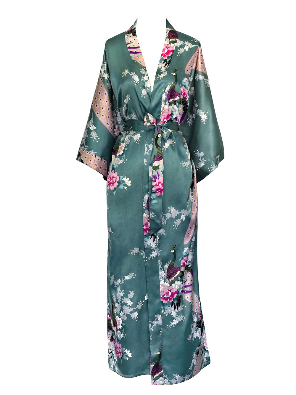 Old Shanghai Women's Kimono Long Robe - Peacock & Blossoms KML01PT-aqua