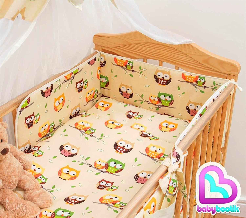 Owls Beige 3 Pcs Cot Bedding Set 180cm Regular Bumper 120x60 cm