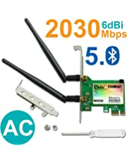 Gigabit WiFi Card, Wireless-AC 9260 Dual Band 2030Mbps(5G-1730Mbps / 2.4G-300Mbps), Bluetooth 5.0 Wireless Network Card, PCI-E Wireless WiFi Network Adapter for PC(Shipped from CA)