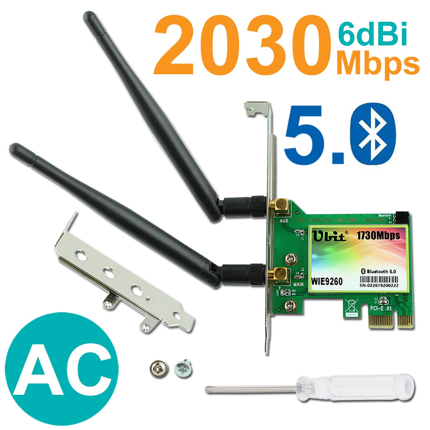 Gigabit WiFi Card, Wireless-AC 9260 Dual Band 2030Mbps(5G-1730Mbps / 2.4G-300Mbps), PCIe WiFi Card, Bluetooth 5.0 Wireless Network Card, PCI-E ...