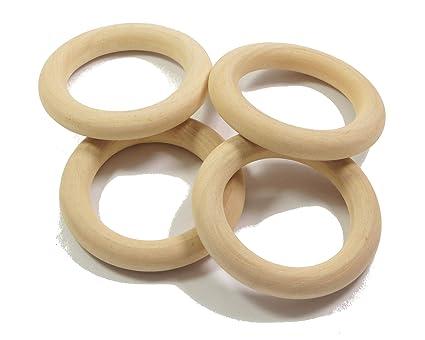20Stk Natürliche Holz Baby Beißring Ring Unfinished Holz Schmuck Handwerk Supply