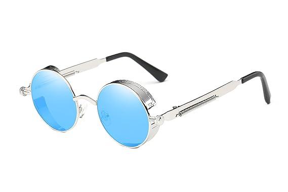 543d71632bc13 Unisexe Lunettes de soleil style rétro avec verres ronds la frame rond en  métal pour les