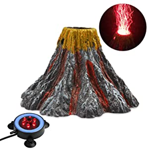NICREW Aquarium Volcano Ornament Kit, Air Bubbler Decorations for Fish Tank, Aquarium Air Bubbler with LED Light