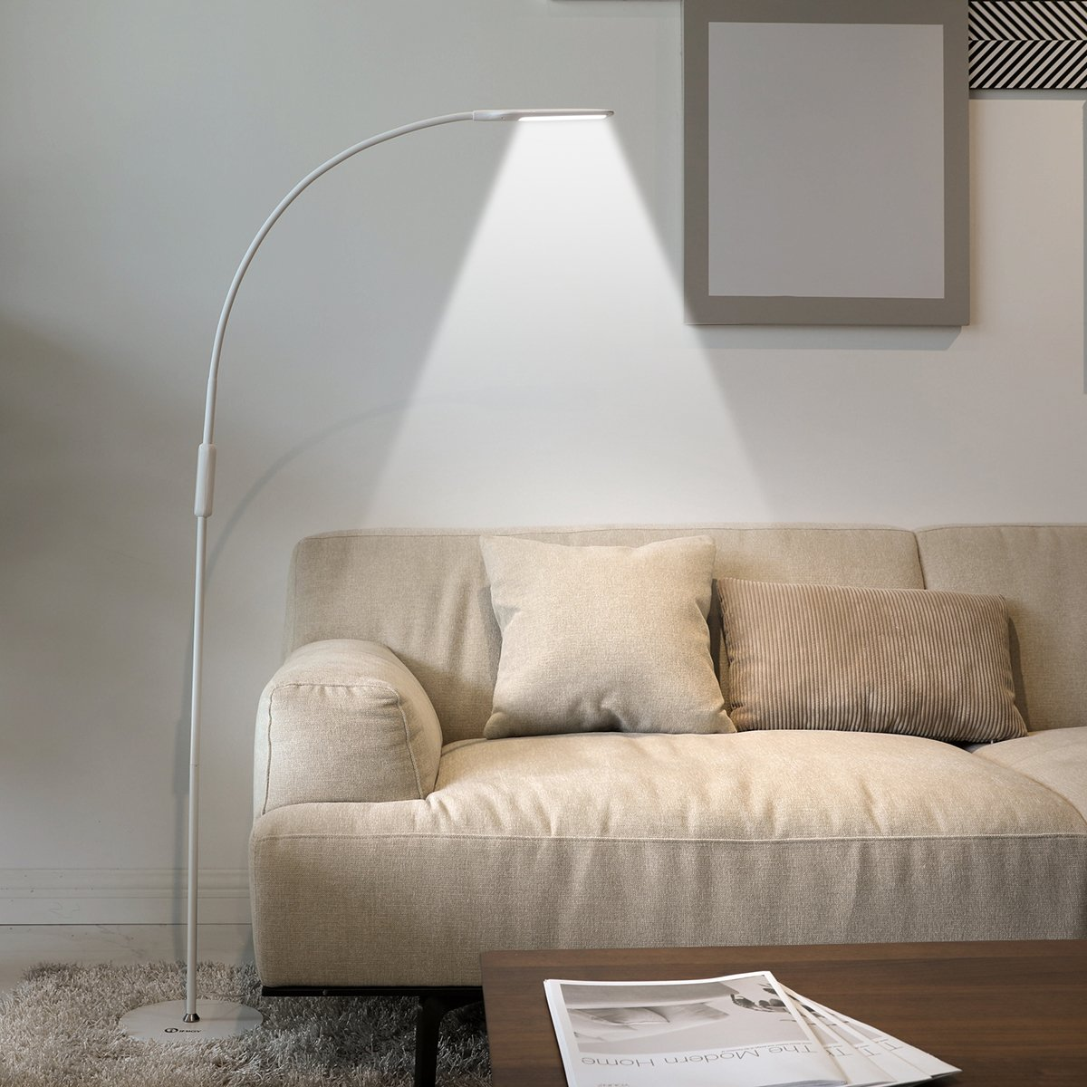 IMIGY Dimmable 9W Floor Lamp, Office/Work/Living Room Reading Flexible Gooseneck Light with Touch and Remote Control, 5-Level Brightness and Color Temperature Dimmable Eye-Care Technology Light, White by IMIGY (Image #7)