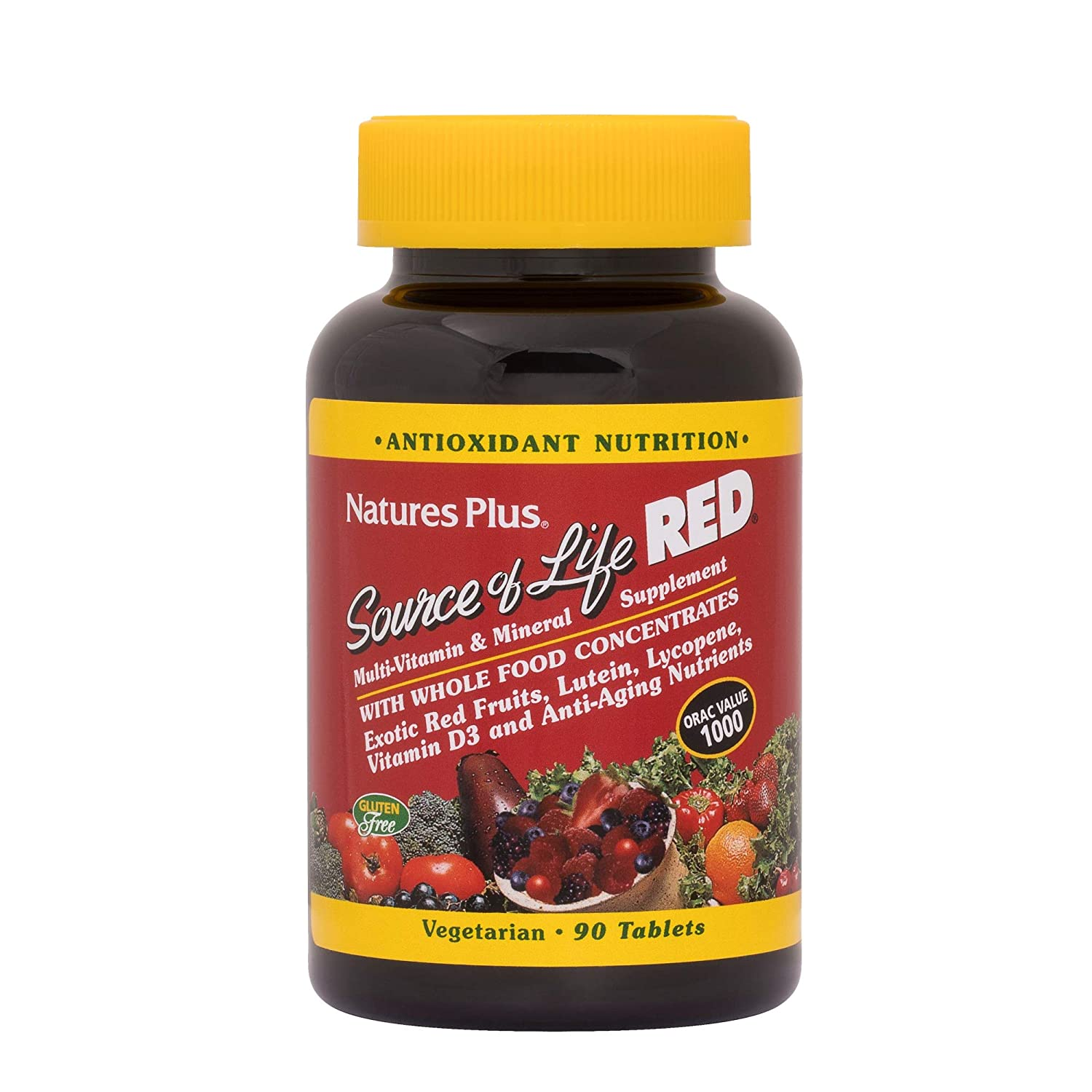 NaturesPlus Source of Life Red Tablets – 90 Vegetarian Tablets – Red Superfood Whole Food Multivitamin, Antioxidant – Anti-Aging Nutrients – Energy Boost – Gluten-Free – 30 Servings