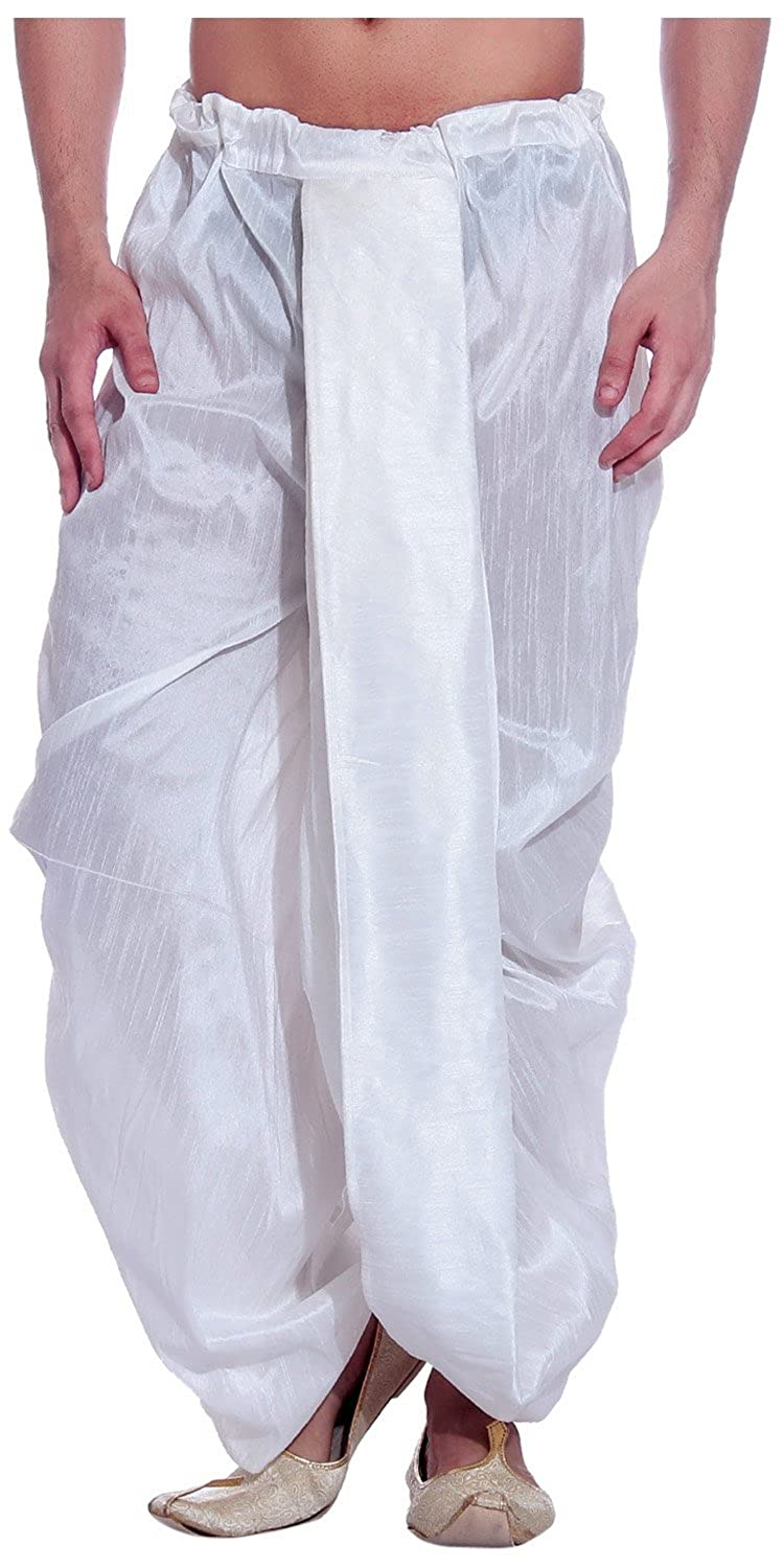 Tag 7 Men's Threadsart Silk Dhoti Royal WHITE-DH-1-38-$P