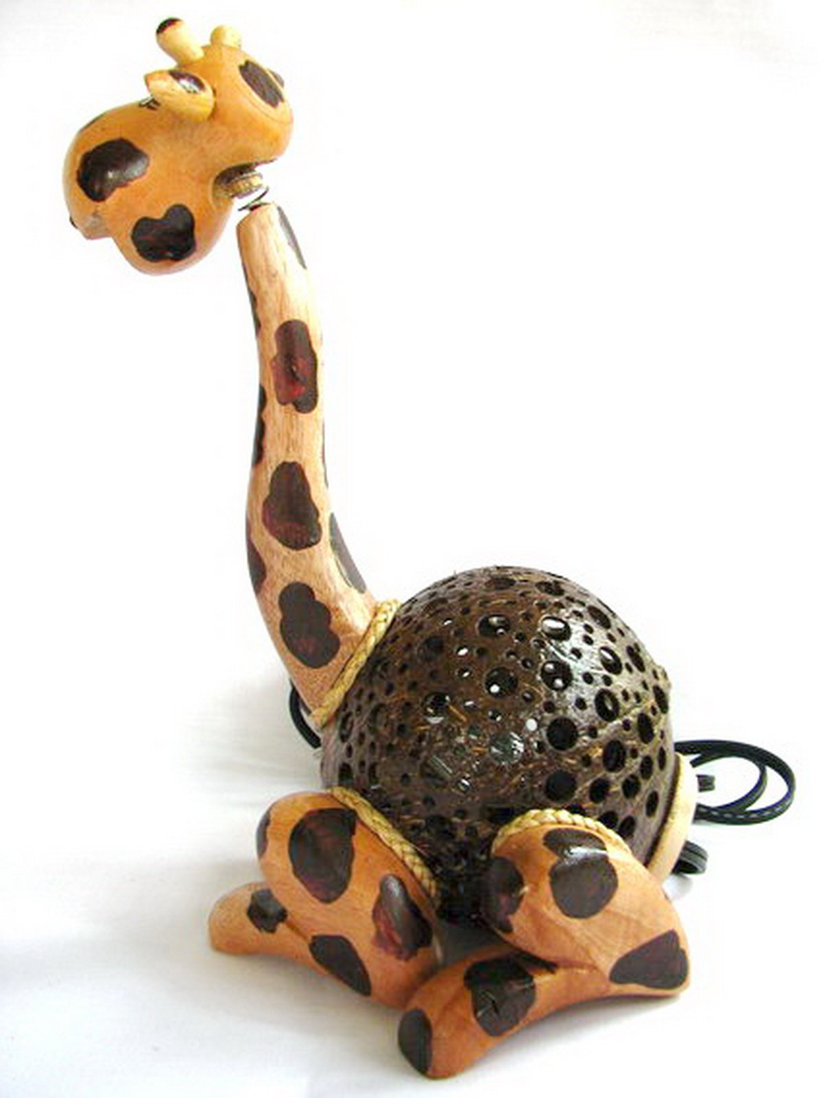 Coconut Shell Lamp - Giraffe Lamp 10'' Height - Wooden Crafts Handmade of Thailand Craftsman by Thailand Gifts Shop (Image #2)
