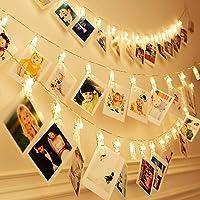EleganBello Cadena de luces con pinzas 2m 20 LED Cadena de luces con pinzas 2 modos de luz Blanco cálido Guirnalda de luces con Clips para fotos ideal para colgar fotos, notas, Memos y de arte