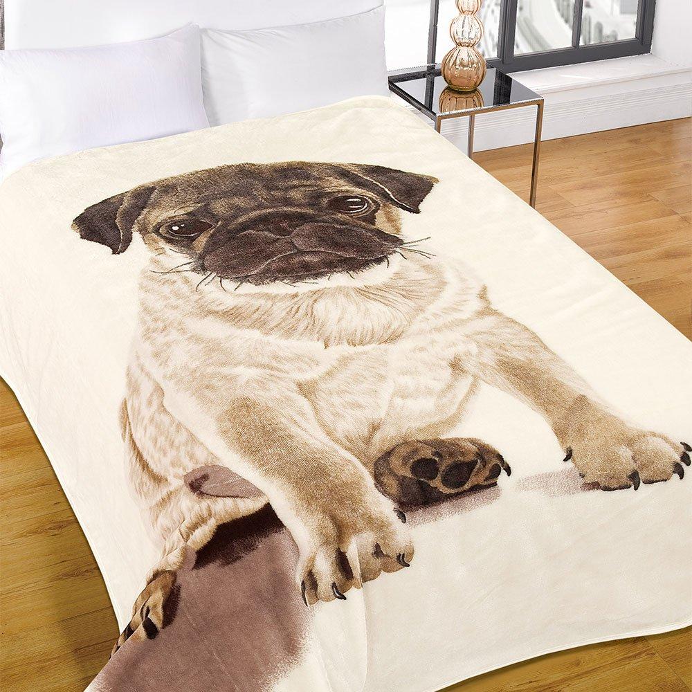 Dreamscene大暖かいソフトフェイクファーパグ犬動物ベッド毛布投げ - 200 x 240 cm B01NBIEZZ9