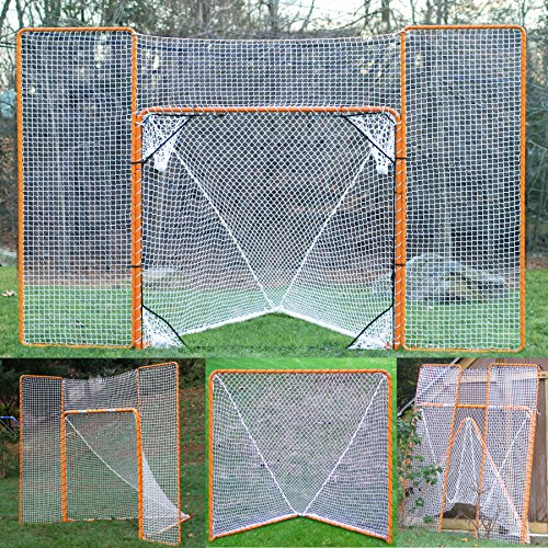 EZGoal Lacrosse Folding Goal with Backstop and Targets, Orange