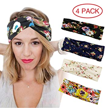 acdaf9cd2af Amazon.com  Healthy Care 4 Pack Headbands for Women Boho Floal Style ...
