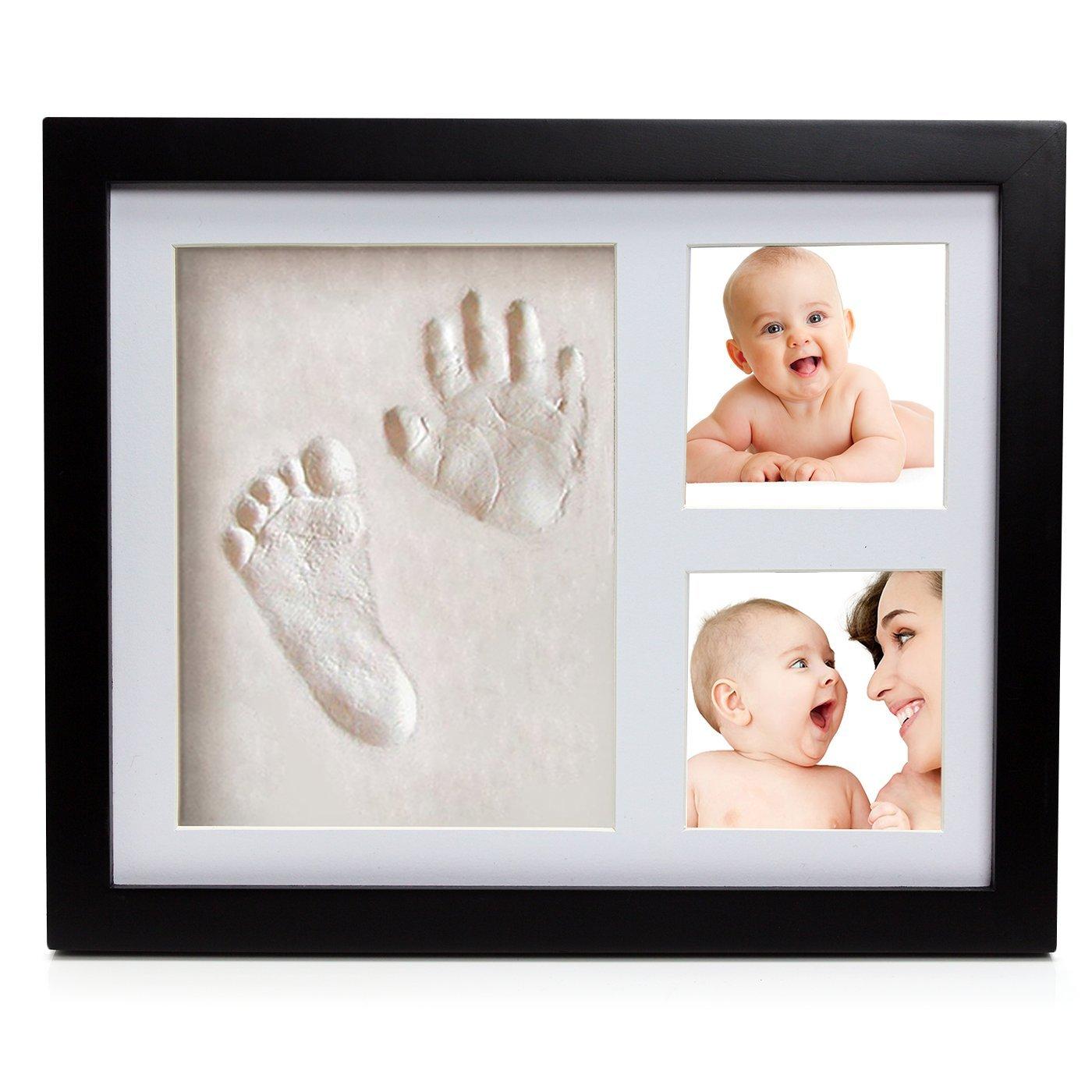 Kit de cadre photo moulage de pied et de main de bébé ® Babyboon | 4 COULEURS DANS UN PACK | Le souvenir idéal pour un cadeau de naissance ou de baptême | Empreinte parfaite des pieds et des mains – ESSAYEZ MAINTENANT ! (noir)