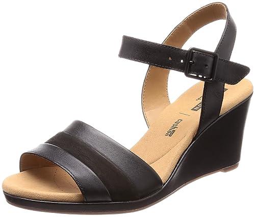 138d01a89d1 Clarks Women s Lafley Aletha Black Leather Fashion Sandals-4 UK India (37 EU