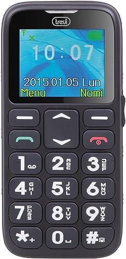 Trevi SICURO 10 Telefono Cellulare per Anziani con Tasti Grandi, Funzione SOS, Base di Ricarica, Slot SD fino a 16 GB, di facile utilizzo, Nero