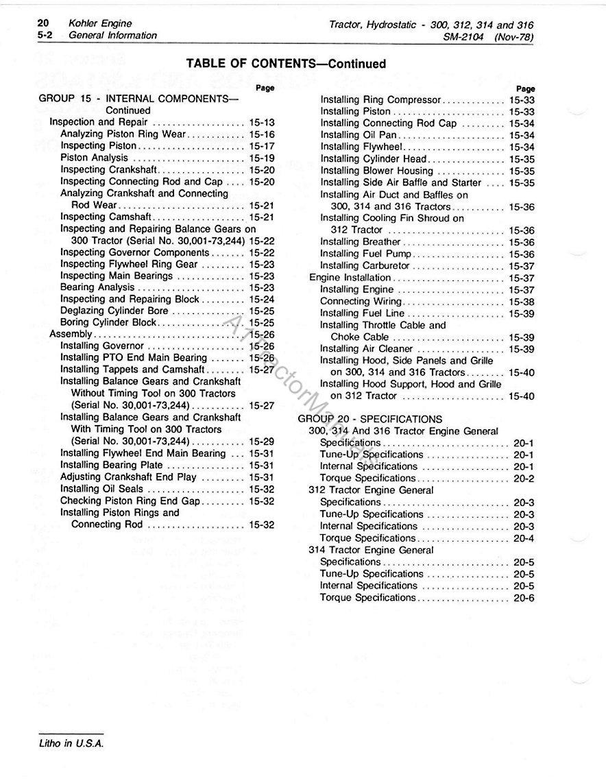 John Deere 314 Lawn Garden Tractor Service Manual Wiring Harness Tools Home Improvement