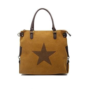 OBC ital Design Stern Tasche Handtasche Leder Damentasche Canvas Baumwolle Crossover Schultertasche Sportliche Tasche Umhängetasche Henkeltasche