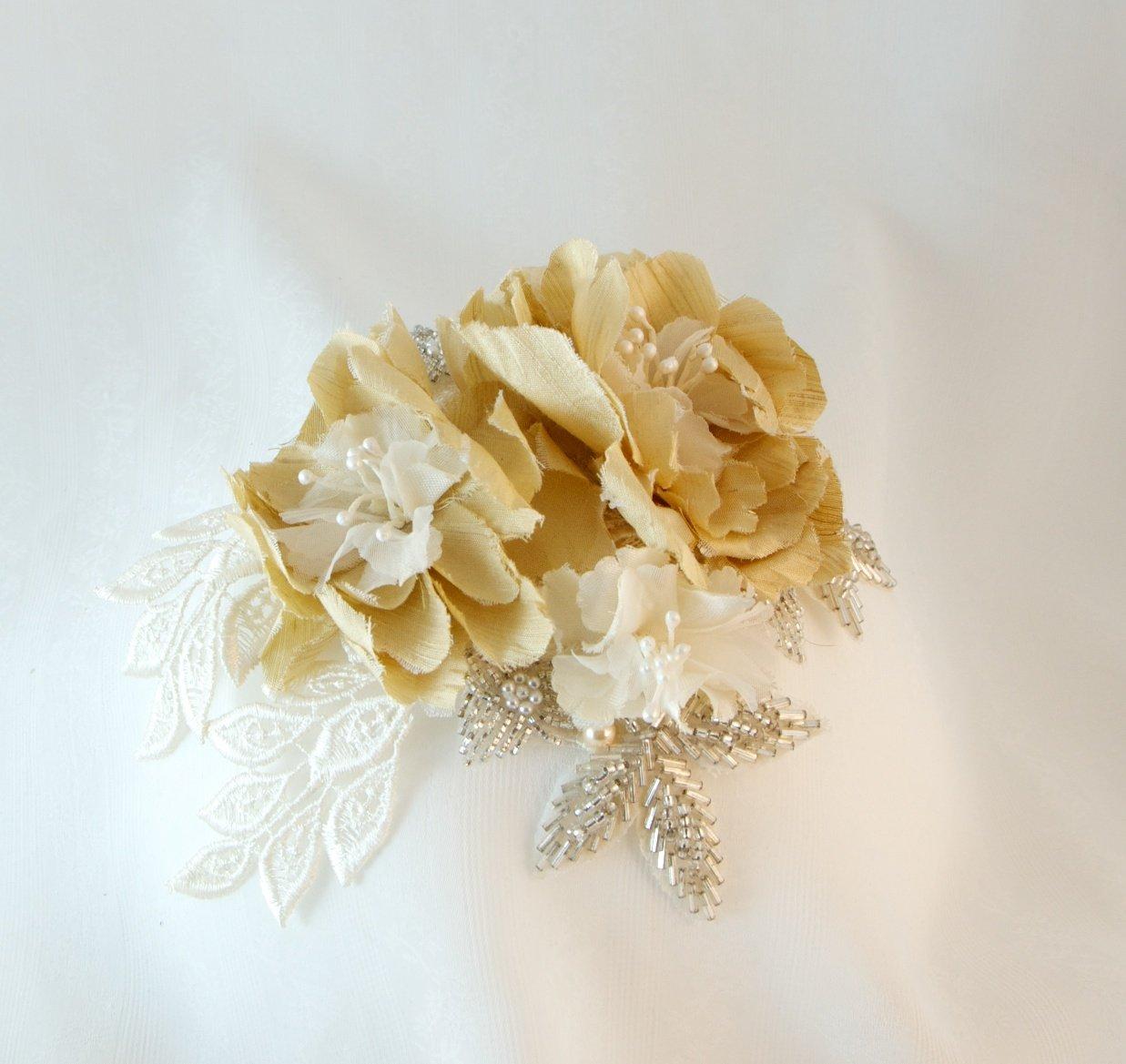 Silk Floral Bridal Demi-Cap