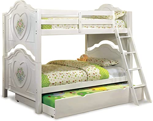 Furniture of America with with Trundle Bunk Bed, Twin-over-Twin, White