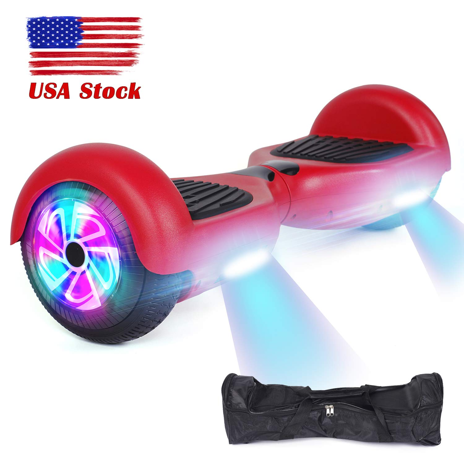 YHR Hoverboard Flashing Wheel Hover Board 6.5'' Self Balancing Scooter -UL Certified with Free Bag-Red