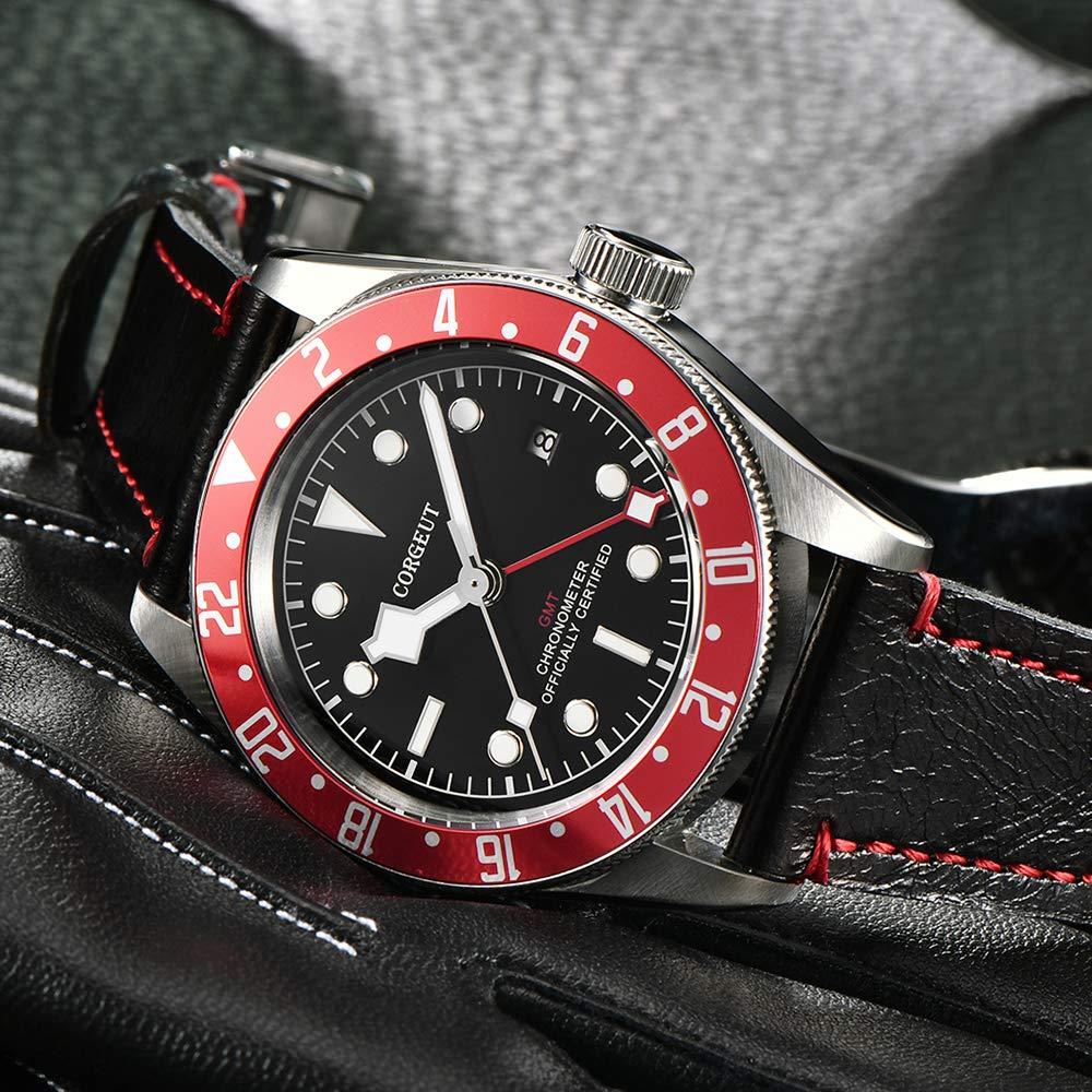GMT automatisk klocka för män, läderrem mekaniska armbandsur med datum, safirkristall, lysande Röd