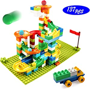 Marble Run Building Blocks, 137 PCS Classic Big Blocks STEM Toy Bricks Set Kids Race Track Compatible with All Major Brands Bulk Bricks Set for Boys Girls Toddler Age 3,4,5,6,7,8+