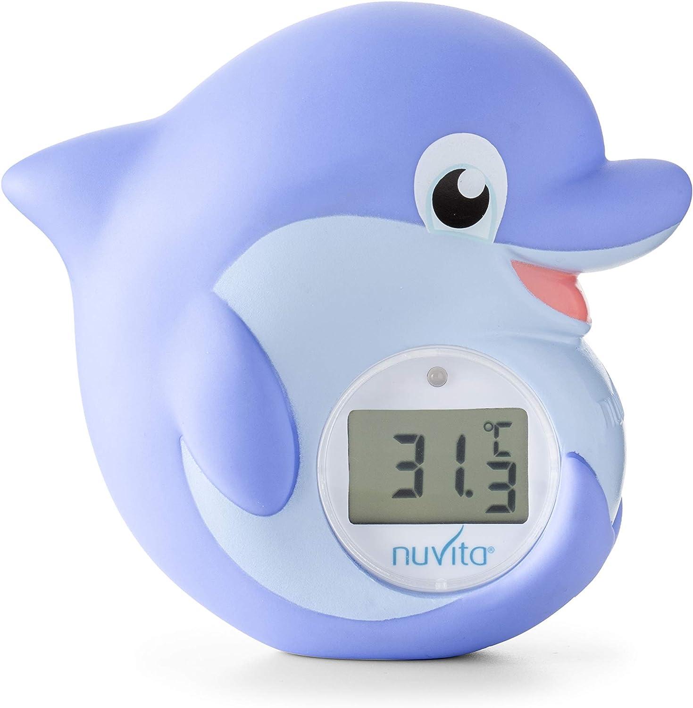 Nuvita 1006 Termometro Baño Bebe - Termometro Digital Habitacion y Agua con Alarma LED Rojo Caliente | Azul Frío - Juguetes Bañera Certificado EN71 - Marca Europea - Delfín Azul