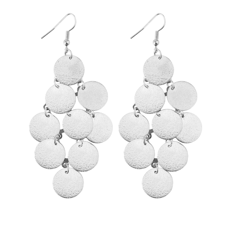 Dangle Drop Earrings,UHIBROS Light weight Long Charm Earring Unique Alloy Hook Earrings (Sliver)