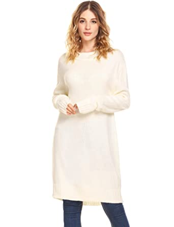 c10f05934ab SummerRio Women s Long Sweaters Loose Knit Turtleneck Tunic Sweater Dress  Tops White S