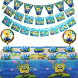 115 Pcs Spongebob Birthday Party Supplies and Decorations Set of Kids,Girls and Boys Party Suppliers Favor 1st Under8…