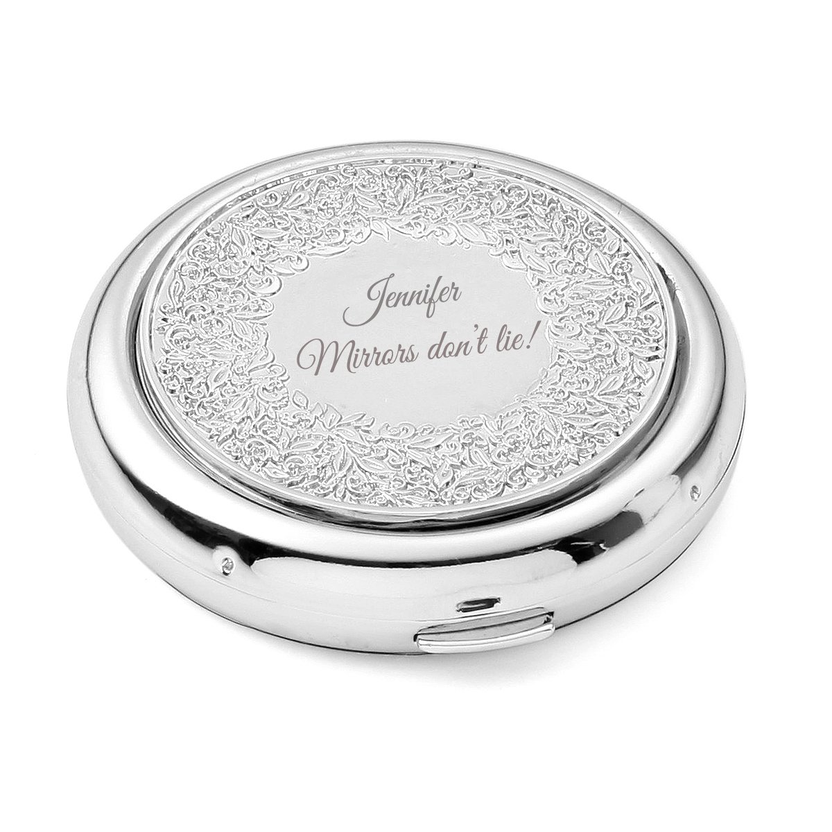 OnePlace Gifts Personalized Floral Compact, Bridesmaid Purse Pocket Makeup Mirror Foldable & Magnifying, Infinite Love, Affection, Renaissance, Venice, Unique Birthday Gift for Her, Customized by