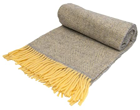 1c5813116f Herringbone - Pure New Wool - Knee Rug Throw Small Blanket - Silver ...