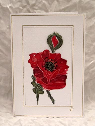 Amazon red poppy greeting card original hand painted silk red poppy greeting card original hand painted silk flowers poppies card mightylinksfo