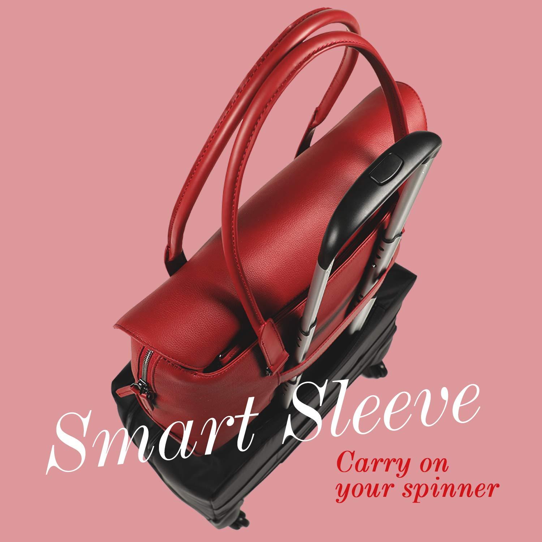 Lipault - Plume Elegance Tote Bag - 15.6'' Laptop Top Handle Shoulder Handbag for Women - Ruby by Lipault (Image #8)