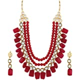 Shining Diva Gold Plated Jewellery Set for Women (Maroon) (8650s)