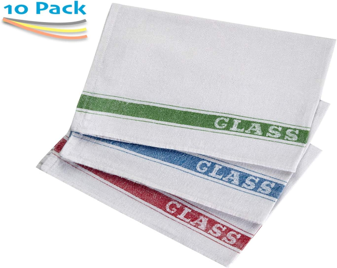 Cotton Rich Printed Glass ClothsAlternative To Tea TowelsPack of 10