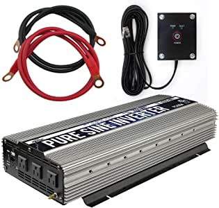 GoWISE Power PS1004 3000W Continuous 6000W Surge Peak Power Pure Sine Wave Inverter with Starter Cables and 4 Output Sockets