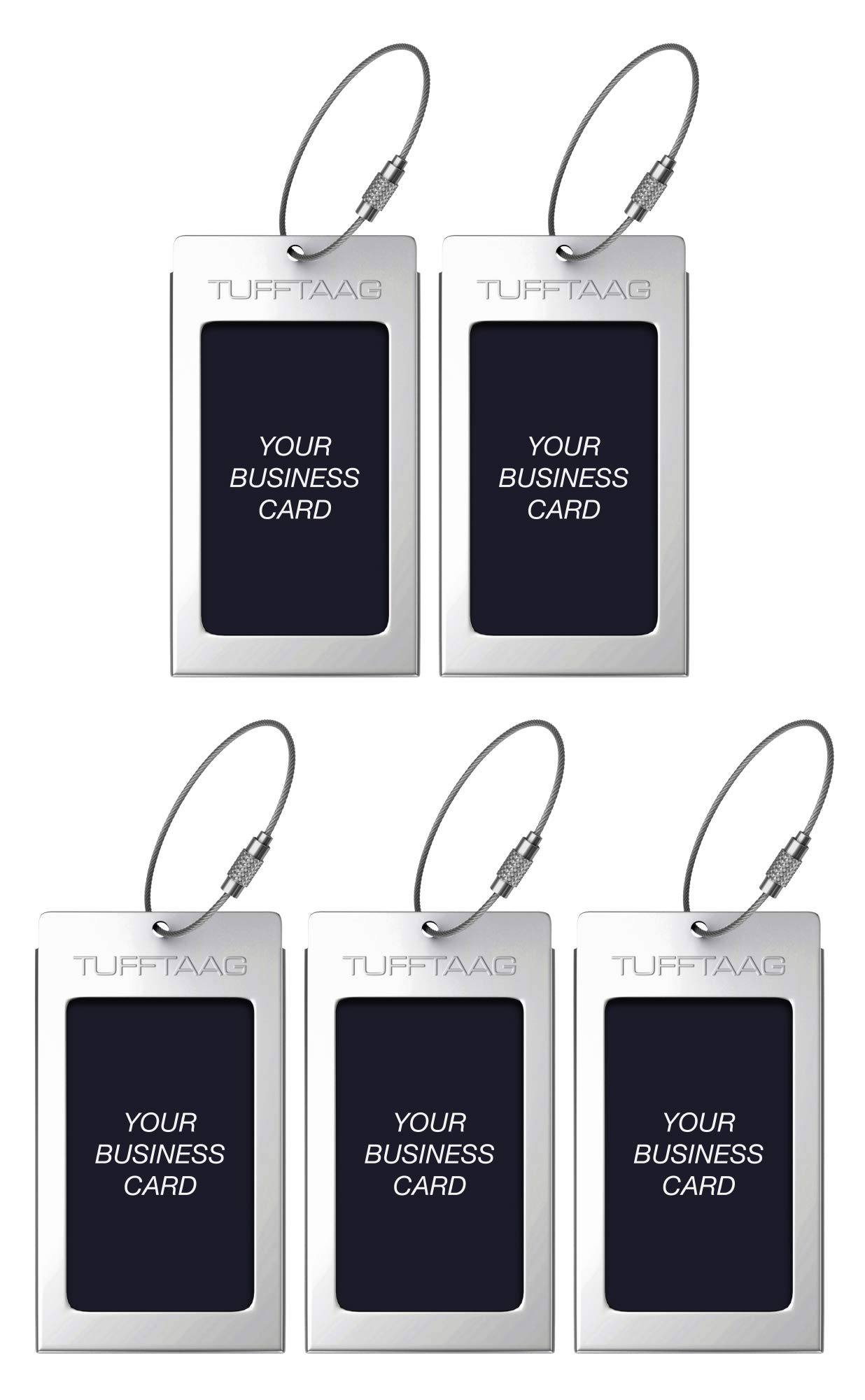 Luggage Tags TUFFTAAG for Business Cards, Metal Suitcase Labels, 5 Pack Bundle (5 Silver)