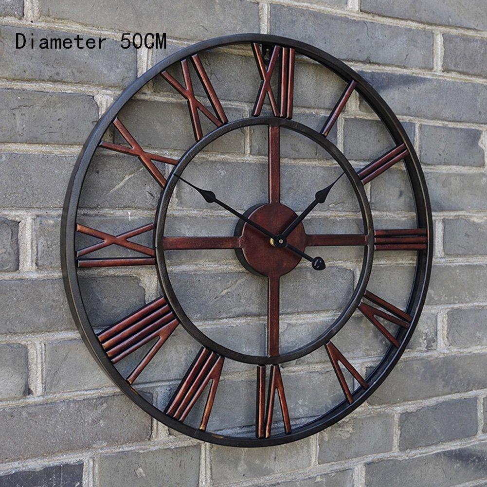 ZWD アイアンアートウォールクロック、ヘアサロンレストランバーウォールクロックリビングルームウォールクロックの装飾ビンテージウォールクロック直径50センチメートル 飾る (サイズ さいず : Dark red) B07FNF7GYLDark red
