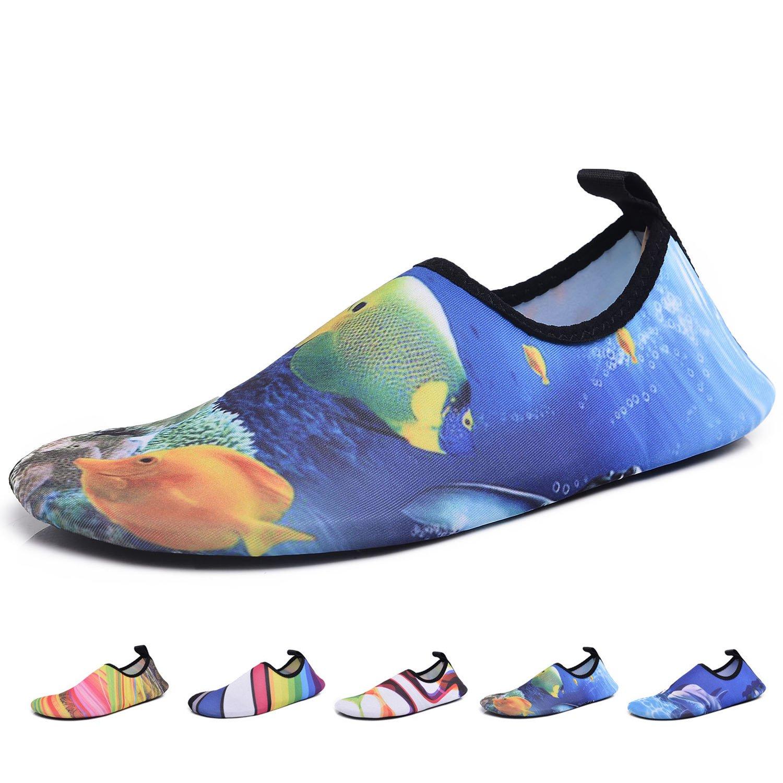 Men Women Kids Water Shoes Summer Quick Dry Barefoot Aqua Socks for Yoga Swim Pool Beach Game Surf Diving Gym Exercise, Goldfish Blue W: 5.5-6.5 / M: 5-5.5
