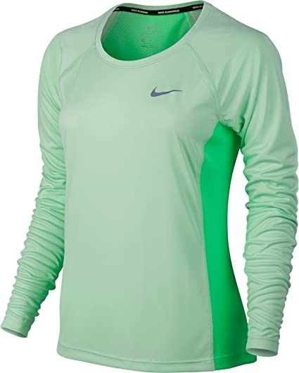 c59840b00 NIKE Women's Dri-Fit Miler Long Sleeve T-Shirt Fresh Mint/Electro Green