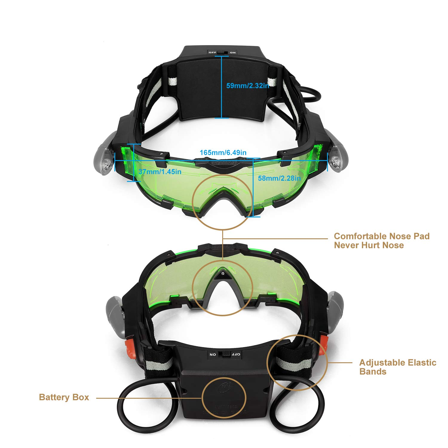 b12c2736c AGM Spy Night Vision Goggles, Adjustable Night Goggles with Flip-Out ...