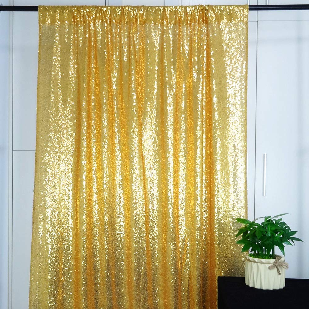 HeMiaor Gold Shimmer Sequin Backdrop Party Wedding Decoration Photo Background Curtains, 5ftx7ft