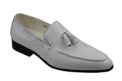 fef63930372 Xposed New Mens White Real Leather Tassel Loafers Smart Casual MOD Summer  Slip on Driving Shoes