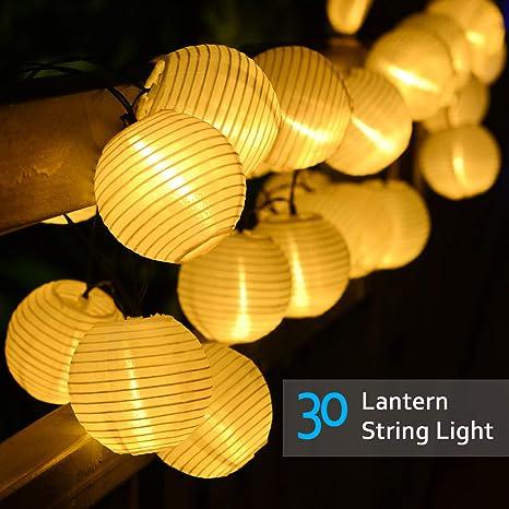 Lvyleaf Guirnaldas de Luces Solar, 30 LED Linternas de exterior Chinas Guirnalda Luminosa para Exterior