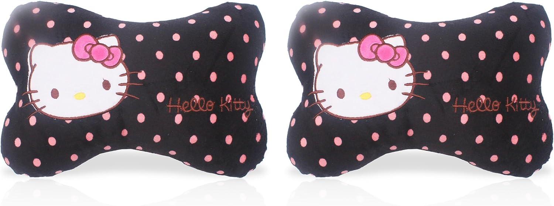 FINEX 2 pcs Set Hello Kitty Black Bone Shaped Head Neck Rest Cushion for Car White Polka Dot