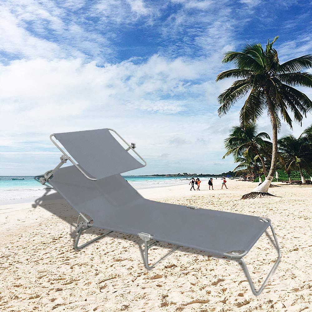 Froadp Lettino a Sdraio Sedie da Giardino Pieghevoli da Spiaggia Lettino da Relax per Giardino Famiglia 188x56x27cm Grigio con Tetto