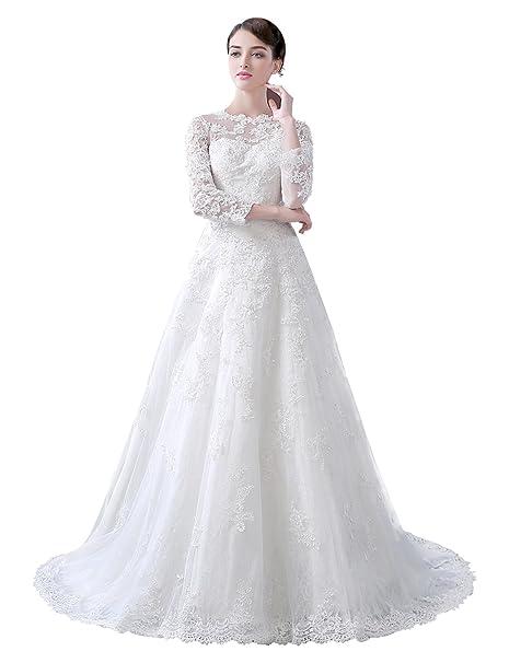 199c1ed678bd Dressilyme affascinante tulle Bateau scollatura A-Line abito da sposa con  pizzo Appliques White 52  Amazon.it  Abbigliamento