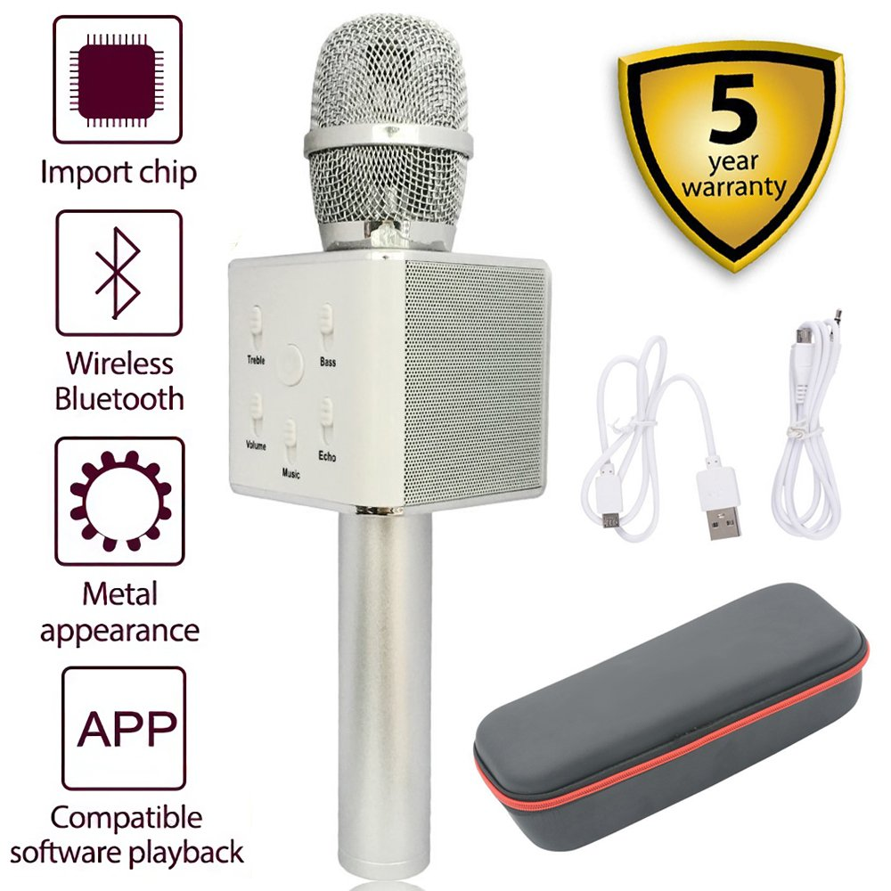 Bluetooth Karaoke Microphone,Q7 Portable 3-in-1 Handheld Wireless Microphone Bluetooth Speaker for Apple iPhone Android Smartphone PC Music Playing Singing Home KTV(Q7 Silver) HAISHULIN Q9