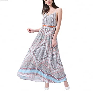 Beach boho Sleeveless dress Woman Strap deep V NEW Summer long dresses Print A line Backless